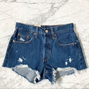 NWT Levi's 501 High Waisted Cut Off Shorts Size 24